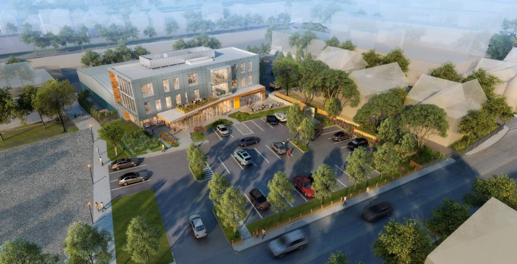Aerial view of three-story building to be built at 179 Amory Street.