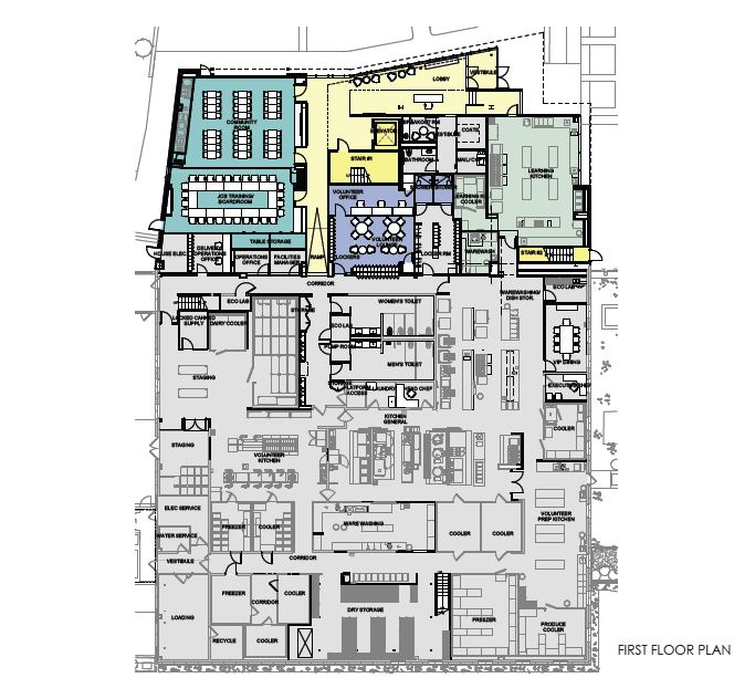 Sample blueprint of the first floor. The colored portion will be in the newly constructed building at 179 Amory Street, while the current Community Servings space (in grey) will be converted into kitchen space, allowing for more meal production.