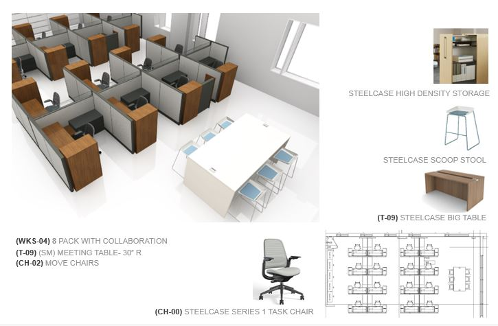 Sample workspace on second and third floors of 179 Amory Street building.