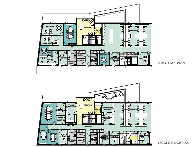 Sample blueprint of the second and third floors at 179 Amory Street, which will house all administrative offices and the Food is Medicine Accelerator.