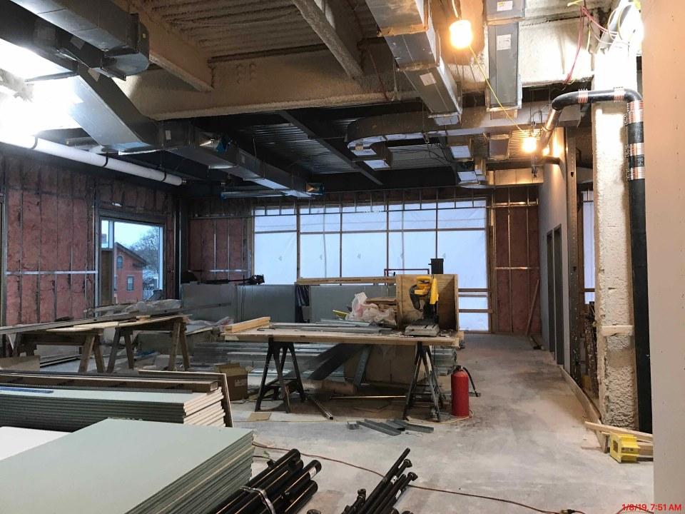 Interior of the third floor, the future home of the Development & Communications Teams, January 2019.